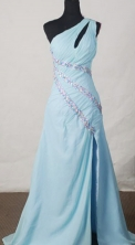 Beautiful A-line One-shoulder Neck Floor-length Beading Prom Dresses Style FA-C-121