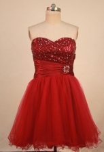 Cut A-line Sweetheart-neck Mini-length Organza Red Beading Prom Dresses Style FA-C-171