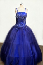 Romantic Ball gown Strap Floor-length Blue Appliques With Beading Flower Girl Dresses Style FA-C-248