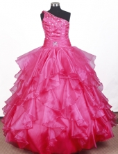 2012 Beautiful Ball Gown One-shoulder Floor-length Little Gril Pagant Dress  Style RFGDC064