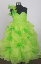 2012 Cute Ball Gown One-shoulder Floor-length Little Gril Pagant Dress Style RFGDC071