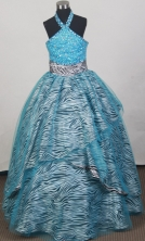 2012 Modest Ball Gown Halter Top Floor-length Little Gril Pagant Dress Style RFGDC066