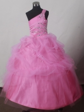 2012 Pretty Ball Gown One-shoulder Floor-length Little Gril Pagant Dress Style RFGDC051