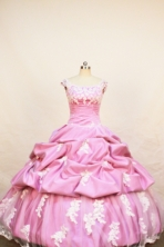 Affordable Ball Gown Off The Shoulder Neckline Floor-Length Rose Pink Beading and Appliques Flower Girl Dresses Style FA-S-220