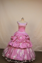 Affordable Ball Gown Off The Shoulder Neckline Floor-Length Rose Pink Beading and Appliques Flower Girl Y042429