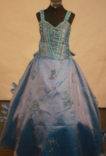 Affordable Ball gown Strap Floor-length Litter Girl Pageant Dress Style FA-W-295