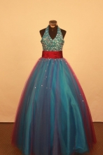 Discount Ball gown Halter top neck Floor-Length Little Girl Pageant Dresses Style FA-Y-337