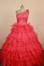 Elegant Ball gown One shoulder neck Floor-Length Little Girl Pageant Dresses Style FA-Y-343