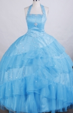 Exclusive A-line Halter top neck Floor-length Litter Girl Dress Style FA-W-283