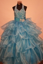 Exclusive Ball Gown Halter Top Floor-length Light Blue Organza Beading Flower Gril dress Style Y042407