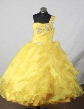 Exquisite Ball Gown One Shoulder Neck Floor-Length Yellow Beading Flower Girl Dresses Style FA-S-409