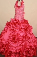 Exquisite Ball gown Halter top neck Floor-Length Little Girl Pageant Dresses Style FA-Y-358