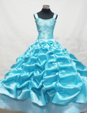 Fashionable Ball Gown Off The Shoulder Neckline Floor-Length Blue Beading and Appliques Flower Girl Dresses Styled FA-S-219