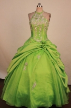 Fashionable Ball gown Halter top neck Floor-Length Little Girl Pageant Dresses Style FA-Y-332