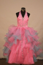 Gorgeous Ball gown Halter top neck Floor-length Colorful Beading Flower Girl Dresses Style FA-C-269