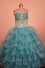 Lovely Ball gown Halter top neck Floor-Length Little Girl Pageant Dresses Style FA-Y-325