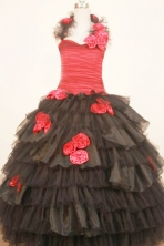 Modest Ball Gown Halter Floor-Length Hand Flowers Little Girl Pageant Dresses Style FA-Y-341