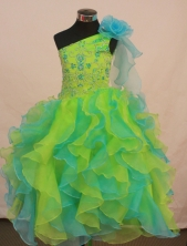 Perfect Ball gown One-shoulder Neck Floor-length Flower Girl Dresses Style FA-C-152