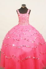 Popular Ball Gown Strap Floor-Length Organza Little Girl Pageant Dresses Style FA-Y-306