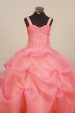 Popular Ball Gown Strap Floor-Length Organza Little Girl Pageant Dresses Style FA-Y-308