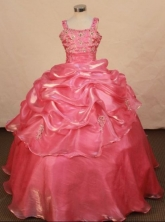 Popular Ball Gown Strap Floor-length Rose pink Taffeta Beading Flower Gril dress Style FA-L-434