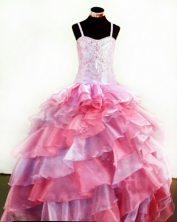 Popular Ball Gown Straps Floor-Length Pink Appliques and Beading Flower Girl Dresses Style FA-S-230
