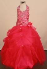 Popular Ball gown Halter top neck Floor-Length FLittle Girl Pageant Dresses Style FA-Y-355