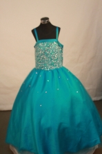 Romantic Ball Gown Straps Floor-Length Blue Appliques and Beading Flower Girl Dresses Style FA-S-233