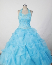 Sweet Ball Gown Halter Top Neck Floor-Length Baby Blue Beading and Appliques Flower Girl Dresses Y042432