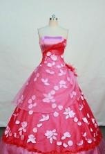 Lovely ball gown strapless floor-length pink quinceanera dress FA-X-026