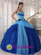 Silao Mexico Wholesale Strapless Blue ruched Quinceanera Dress ForSweet 16 In Tulle Beading Ball Gown Style PDZY505FOR