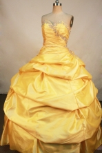 Unique Ball Gown Sweetheart Neck Floor-Length Gold Beading Quinceanera Dresses Style FA-S-169