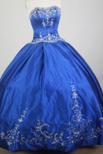 Classical Ball Gown Strapless Floor-length Blue Quinceanera Dress X0426040