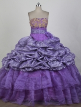 Classical Ball Gown Strapless Floor-length Purple Quinceanera Dress X0426082