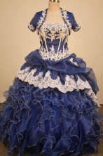 Exclusive Ball Gown Strapless Floor-Length Blue Applqiues Quinceanera Dresses Style FA-S-329
