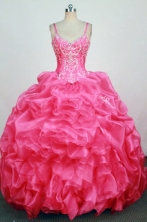 Informal Ball Gown Straps Floor-Lengtrh Hot Pink Beading and Appliques Quinceanera Dresses Style FA-S-201