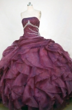 Luxurious Ball Gown Strapless Floor-length Dark Purple Organza Beading Quinceanera dress Style FA-L-379