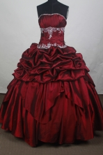 Modest Ball Gown Strapless Floor-length Burgundy Quincenera Dresses TD260060