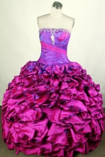 Popular Ball Gown Strapless Floor-length Fuchsia Quinceanera Dress Y042661