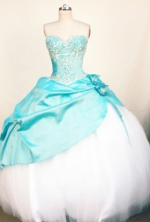 Popular Ball Gown Sweetheart Neck Floor-Length Light Blue Beading Quinceanera Dresses Style FA-S-217
