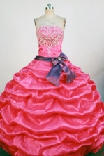 Pretty Ball Gown Strapless Floor-Length Hot Pink Beading and Applqiues Quinceanera Dresses Style FA-S-320