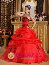 2013 Fashionable Red  Wholesale Embroidery Sweetheart Sweet 16 Dress With Pick-ups Organza Quinceanera Gowns In Cambyreta Paraguay Style QDZY323FOR