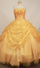 Beautiful Ball gown Sweetheart Floor-length Sequins Gold Quinceanera Dresses Sequins Style FA-Y-0074
