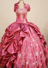 Exclusive Ball Gown Strapless Floor-length Red Taffeta Embroidery Quinceanera Dress Style FA-L-138