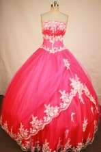 Exclusive Ball Gown Strapless Floor-length Rose Pink Organza Appliques Quinceanera Dress Style FA-L-175