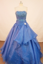 Fashionable Ball Gown Strapless Floor-length Royal Blue Organza Beading Quinceanera Dress Style FA-L-166