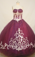 Luxurious A-line Sweetheart Floor-length Burgundy Quinceanera Dresses Appliques with Beading Style FA-Y-0075