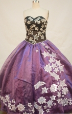 Perfect Ball gown Sweetheart Floor-length Taffeta Purple Quinceanera Dresses Appliques Style FA-Y-0049