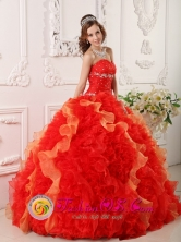 2013 Jocotenango Guatemala Red Quinceanera Dress For Appliques and Beading Sweetheart Organza Ball Gown Style QDZY012FOR