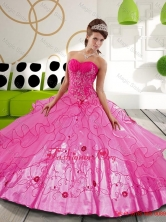 2015 Sturning Hot Pink Ball Gown Sweet 15 Dresses with Appliques QDDTB29002FOR